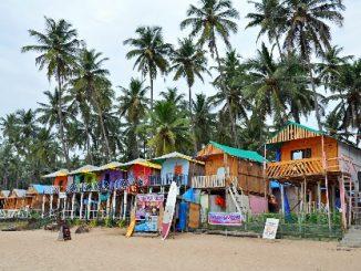 Colourful beach huts in Goa